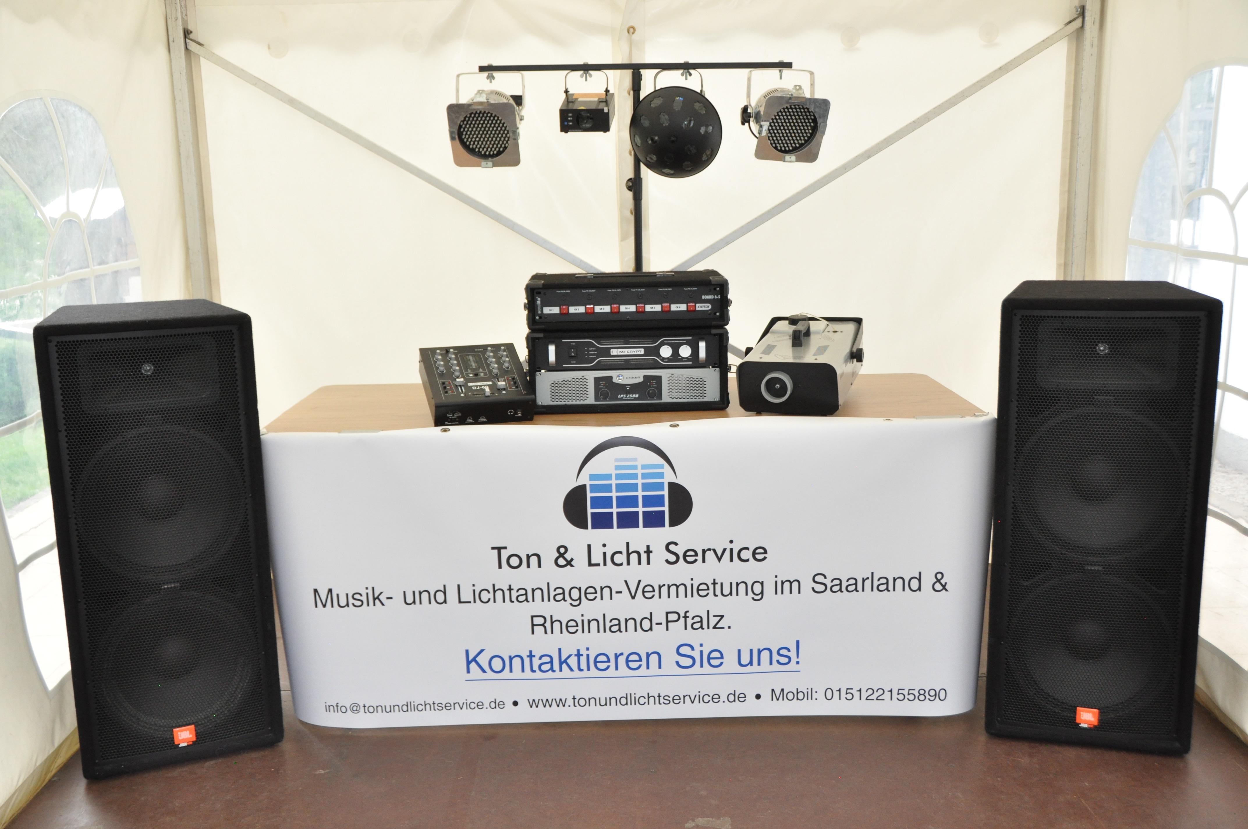 Musik- und Lichtanlage mieten Saarland Rheinland Pfalz und Saarbrücken